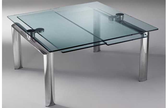10surdix table extensible policleto q 140 140 cm for Table en verre a rallonge