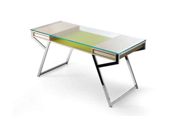 10surdix bureau lui 140 cm verre transparent for Bureau 140 cm