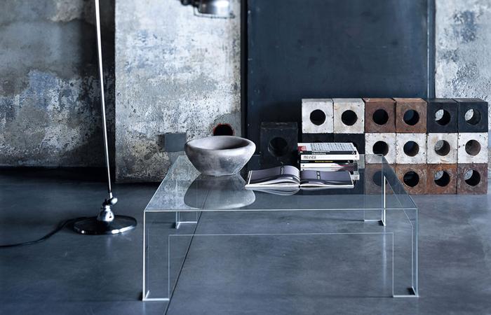 10surdix table basse atlantis 80 80 cm verre for Table de nuit transparente