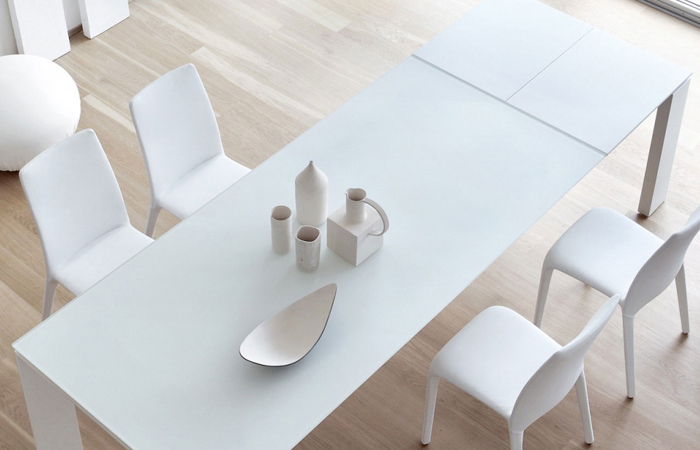 Table verre blanc extensible for Table verre blanc extensible