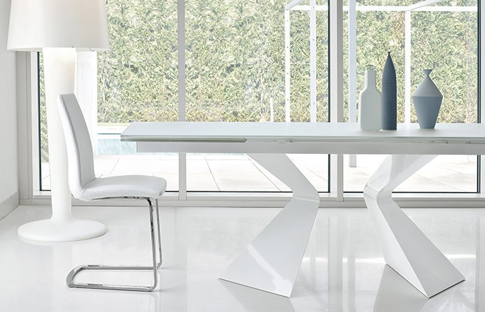 Table extensible prora 180 100 cm verre blanc 10surdix for Table verre blanc extensible