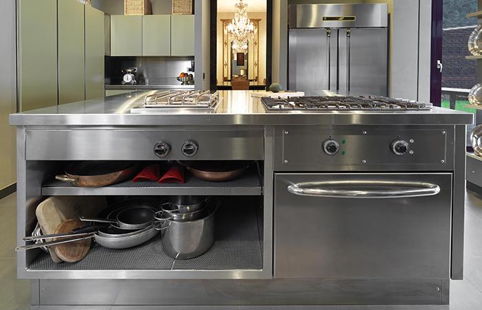 10surdix cuisine atelier acier inox laque vert - Cuisine inox sur mesure ...