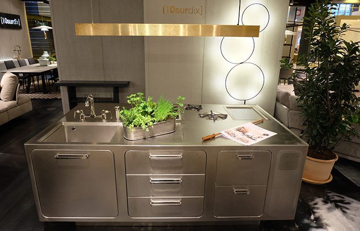 cuisine ego acier inox ilot central sur mesure 10surdix. Black Bedroom Furniture Sets. Home Design Ideas