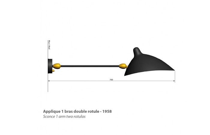 10surdix applique serge mouille 1 bras double rotule 10surdix. Black Bedroom Furniture Sets. Home Design Ideas