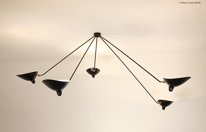 10surdix plafonnier serge mouille araign e 5 bras fixes 10surdix. Black Bedroom Furniture Sets. Home Design Ideas