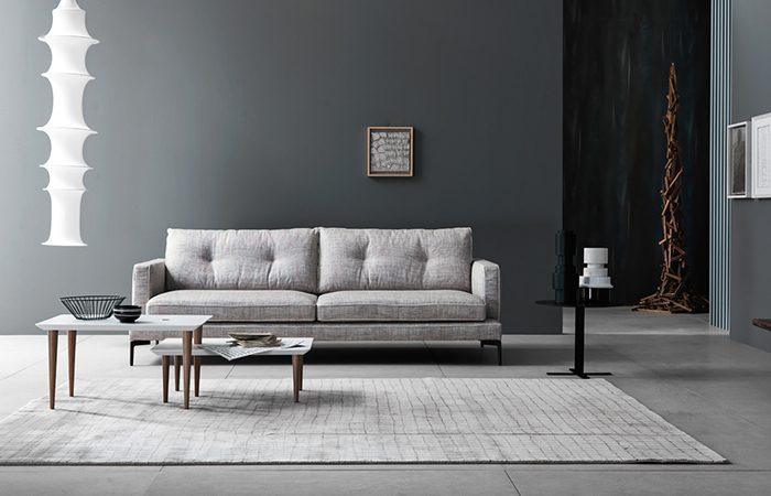 canap essentiel 220 l cm tissu gris passepoils 10surdix. Black Bedroom Furniture Sets. Home Design Ideas