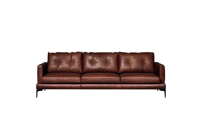 canap essentiel 250 l cm cuir marron 10surdix. Black Bedroom Furniture Sets. Home Design Ideas