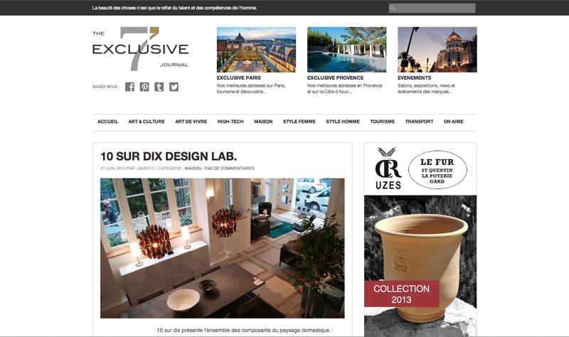 10surdix on parle de nous dans the 7 exclusive journal 10surdix. Black Bedroom Furniture Sets. Home Design Ideas