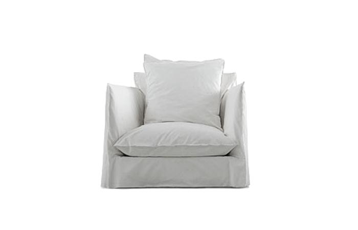 fauteuil ghost 01 90cm tissu blanc cat b - Fauteuil En Tissu