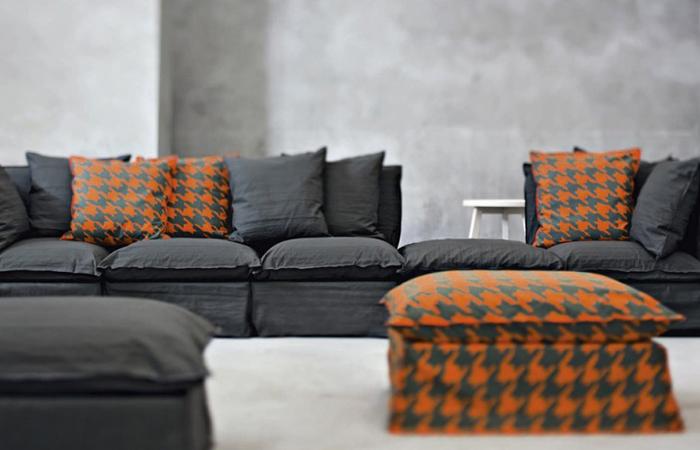 pouf ghost 06 83cm tissu blanc 10surdix. Black Bedroom Furniture Sets. Home Design Ideas