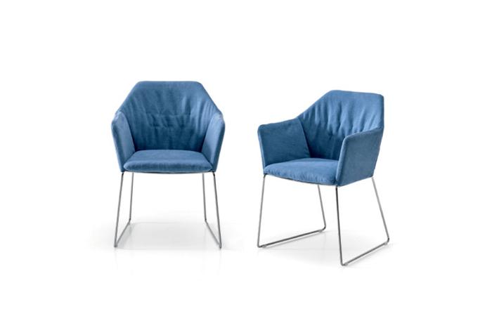 Chaise New York Avec Accoudoirs Tissu Bleu