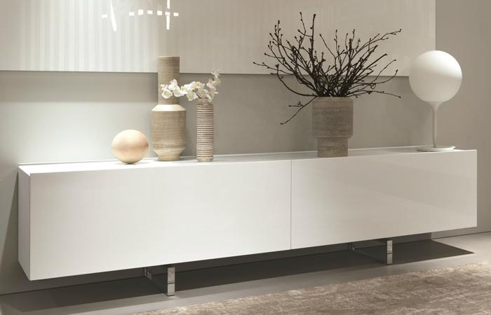 bahut square 256 cm laqu blanc - Buffet Salon Blanc Laque