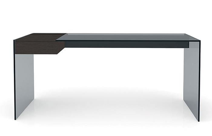 Bureau Noir Verre : Bureau air desk w u cm u verre transparent surdix