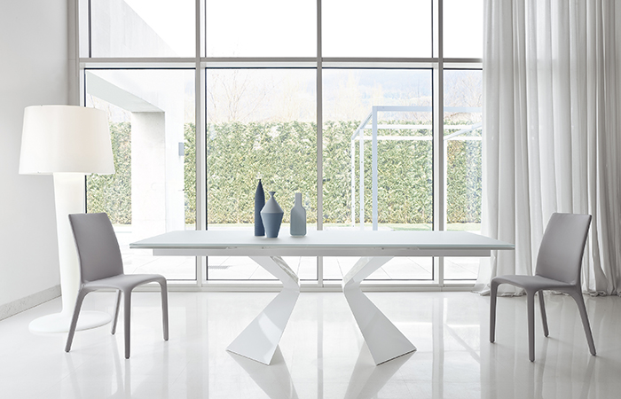 Table Extensible Prora 180 100 Cm Verre Blanc
