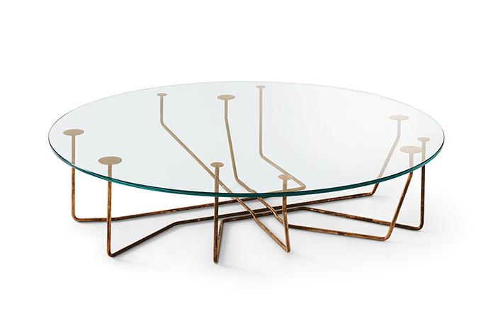37bcb423c801d5 Table basse Connection – 100 cm – Verre   Laiton    10surdix