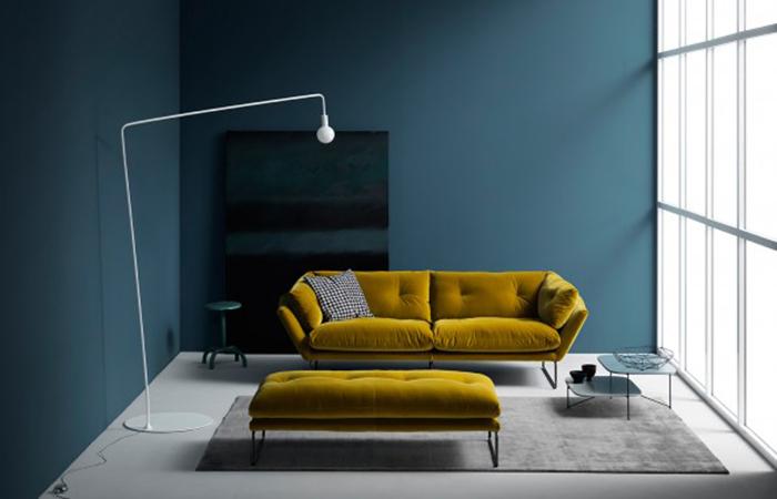 10surdix canap new york suite 230 cm l velours jaune 10surdix. Black Bedroom Furniture Sets. Home Design Ideas