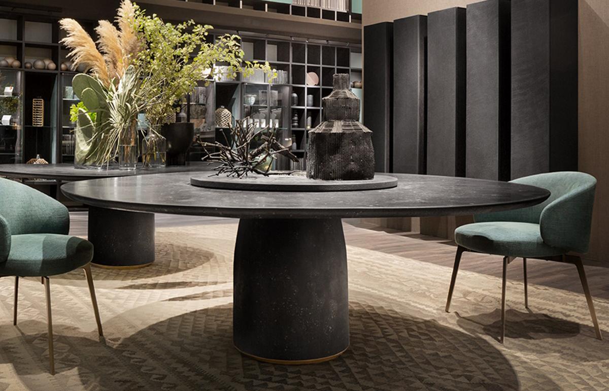 table bul 180 cm d marbre noir reconstitu 10surdix. Black Bedroom Furniture Sets. Home Design Ideas